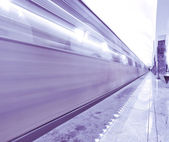 Metro station with train motion — Stock Photo
