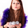 Girl with christmas balls — Stockfoto