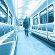 Silhouettes inside carriage — Stock Photo