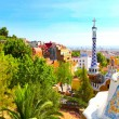The Famous Summer Park Guell over bright blue sky in Barcelona, Spain — Stock Photo