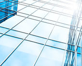 Glass surface of contemporary angle of business building — Stock Photo