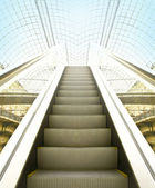 View to perspective escalators stairway — Stock Photo