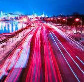 Night motion on urban streets — Stock Photo