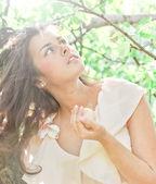 Woman over apple tree — Stock Photo