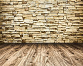 Grungy textured stone wall and floor inside old neglected and de — Foto Stock