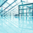 Stock Photo: Underside wide angled and perspective view to steel blue glass a