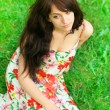 Portrait of tired young girl relaxing in spring park — 图库照片 #25424979