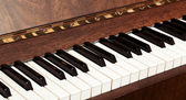 Details of black and white keys on music keyboard - selective focus — Stock Photo