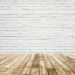 Background of aged grungy textured white brick and red stone wall with light wooden floor with whiteboard inside old neglected and deserted empty interior, blank horizontal space of clean studio room — Stock Photo