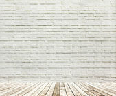 Background of aged grungy textured white brick and stone wall wi — Stock Photo