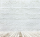 Background of aged grungy textured white brick and stone wall wi — Foto Stock