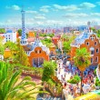 The Famous Summer Park Guell over bright blue sky in Barcelona, — Stock Photo