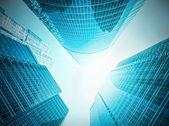 Panoramisch en toekomstige brede hoekmening op staal licht blauwe achtergrond van glas hoog stijgingsgebouw wolkenkrabber commerciële moderne stad van de toekomst. Bedrijfsconcept van succesvolle industriële architectuur — Stockfoto