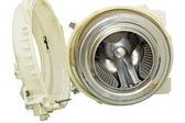 Cilindro de aço de uma máquina de lavar roupa. — Foto Stock