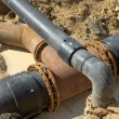 Plastic pipes in the ground. — Stock Photo #30176143