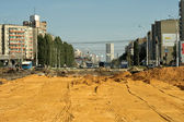 Construction of roads in the city. — Stock Photo