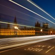 Light trails at Westminster — Stock Photo