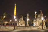 Place de la Concorde by night with the Eiffel Tower — Stock Photo