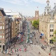 Aerial view of the Dam square, Amsterdam - Stock Photo
