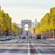 Stock Photo: Champs-Elysees and Arc de Triomphe