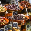 Olives in a street market - Stock Photo