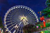 Christmas decoration and ferries wheel in Nice, France — Stock Photo