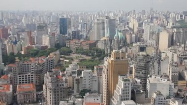 View of Sao Paulo and the Se Cathedral, Brazil — Stock Video
