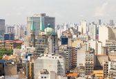 The big city of Sao Paulo and the famous Se Cathedral, Brazil — Stock Photo