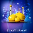 Eid Mubarak background with golden Mosque or Masjid. EPS 10. — Stock Vector #12181228