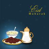 Texto dourado eid mubarak com doces para a comunidade muçulmana festiva — Vetor de Stock