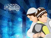 Calligrafia islamica araba del testo eid mubarak con ragazzi musulmani — Vettoriale Stock