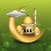 Eid Mubarak background with golden moon with Mosque or Masjid. E — Stock Vector