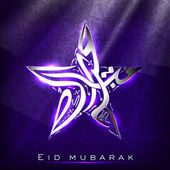 Arabic Islamic text Eid Mubarak Star on shiny purple color backg — Stock Vector