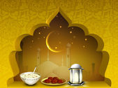 Beautiful EId Mubarak background with moon, sweets and lantern o — Stock Vector