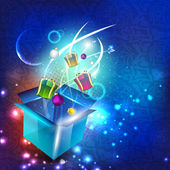Gift boxes out from a big box on beautiful modern abstract backg — Vector de stock