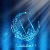 Greeting card with Arabic Islamic calligraphy of text Eid Mubarak. EPS 10. — Stock Vector