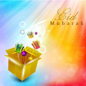 Beautiful greeting card with gift boxes, candles and Arabic Islamic calligraphy of text EId Mubarak for celebration of Muslim community festival Eid. EPS 10. — Stock Vector