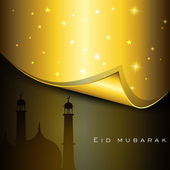 Beautiful Eid Mubarak greeting card with shiny silver moon with star on creative green rays background. EPS 10. — Stock Vector