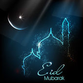 Beautiful greeting card for Eid Mubarak festival with shiny Mosque and Masjid image. EPS 10. — Vecteur