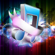 3D music notes with ribbon on colorful grungy background. EPS 10 - Imagens vectoriais em stock