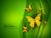 Beautiful green abstract background with golden butterfly. EPS 1 — Stock Vector
