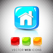 Stock Vector: Glossy 3D web 2.0 home or homepage symbol icon set. EPS 10.