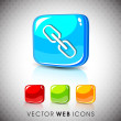 Glossy 3D web 2.0 link or connect symbol icon set. EPS 10. - Stock Vector