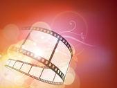 Listra de filme ou bobina de filme em plano de fundo do filme colorido brilhante. eps — Vetor de Stock