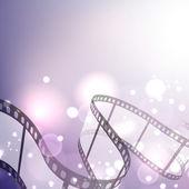 Film stripe or film reel on shiny purple movie background. EPS 1 — Stock Vector