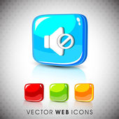 Glossy 3D web 2.0 mute symbol icon set. EPS 10. — Stock Vector
