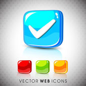 Glossy 3D web 2.0 check mark validation symbol icon set. EPS 10. — Stock Vector
