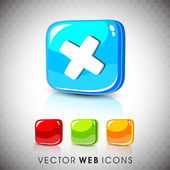 Glossy 3D web 2.0 cross mark validation symbol icon set. EPS 10. — Vector de stock