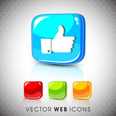Glossy 3D web 2.0 Thumb up like button set. EPS 10. — Stock Vector