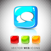 Glossy 3D web 2.0 messenger symbol icon set. EPS 10. — Stock Vector